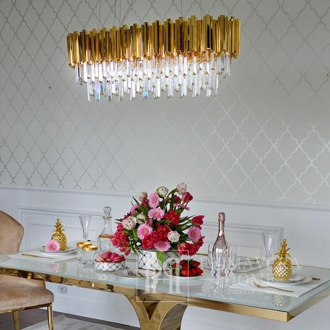 Żyrandol złoty lampa wisząca kryształowa glamour nowojorski stalowy złoty EMPIRE GOLD L OUTLET