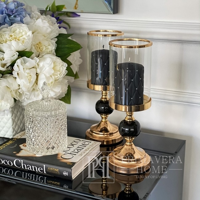 Glamor candlestick with a shade gold black modern