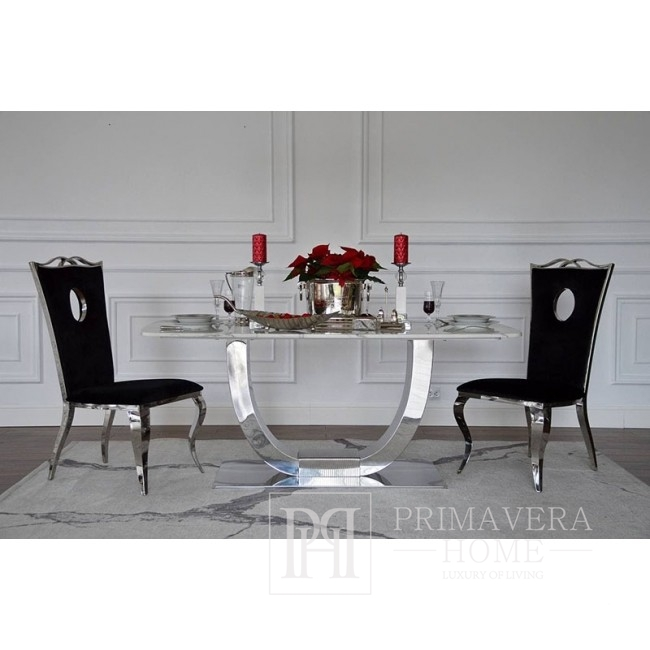 Glamour dining table silver steel white ART DECO table top