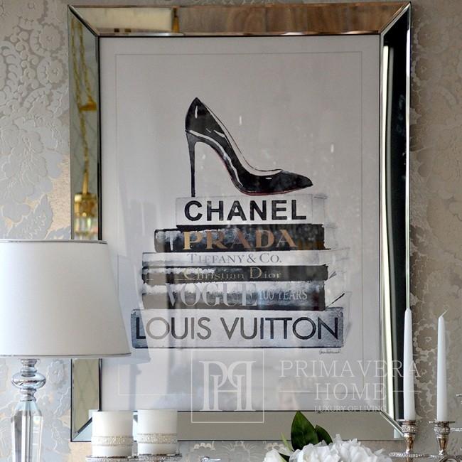 Moderne Malerei in einem Spiegelrahmen 90x70 KANAL PRADA TIFFANY DIOR VOGUE LOUIS VUITTON