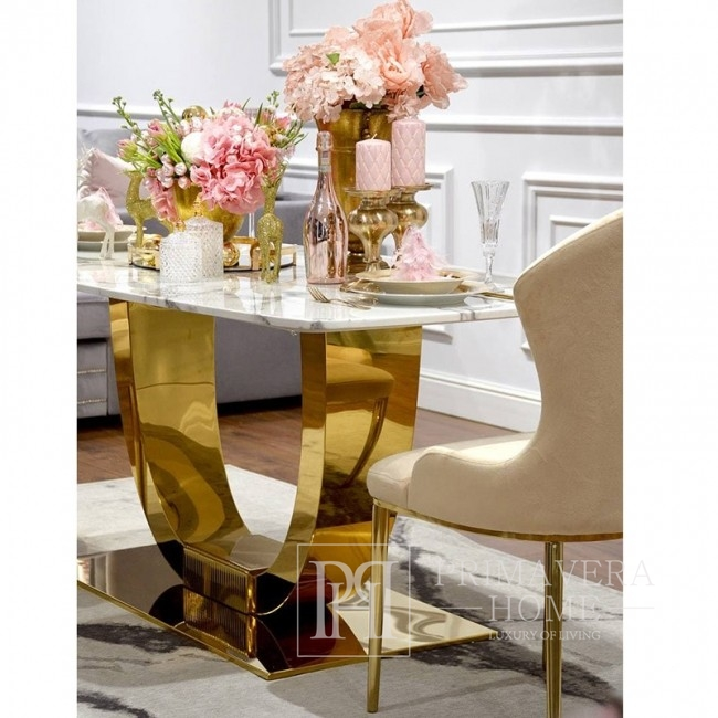 Glamour dining room table gold steel white top ART DECO
