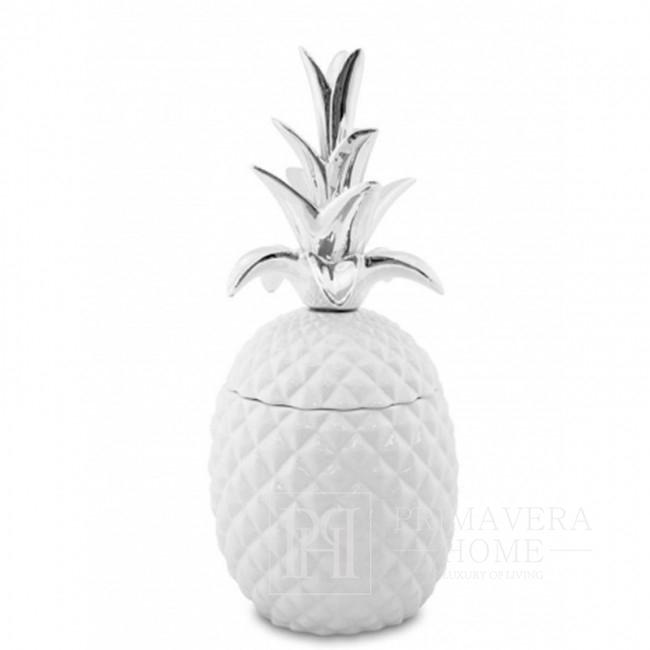 Weiß-silberner Ananasbehälter für den Innenbereich