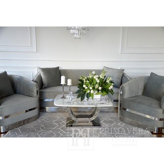 MADONNA Elegant and modern silver grey glamour upholstered sofa
