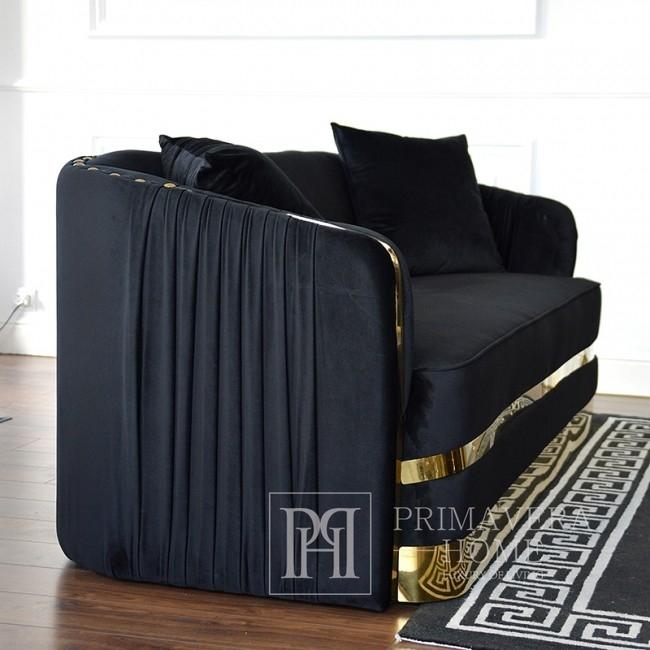 Sofa glamour do salonu, nowoczesna nowojorska tapicerowana czarna złota MADONNA