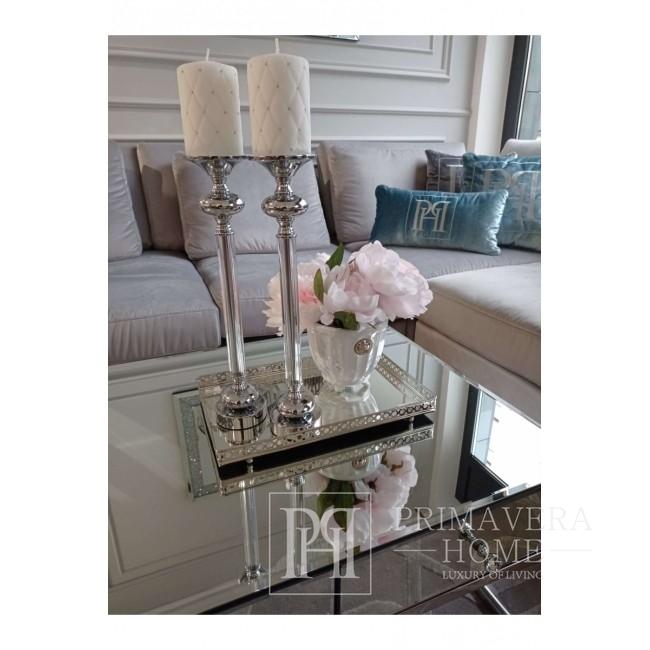 Taca lustrzana w stylu glamour srebrna