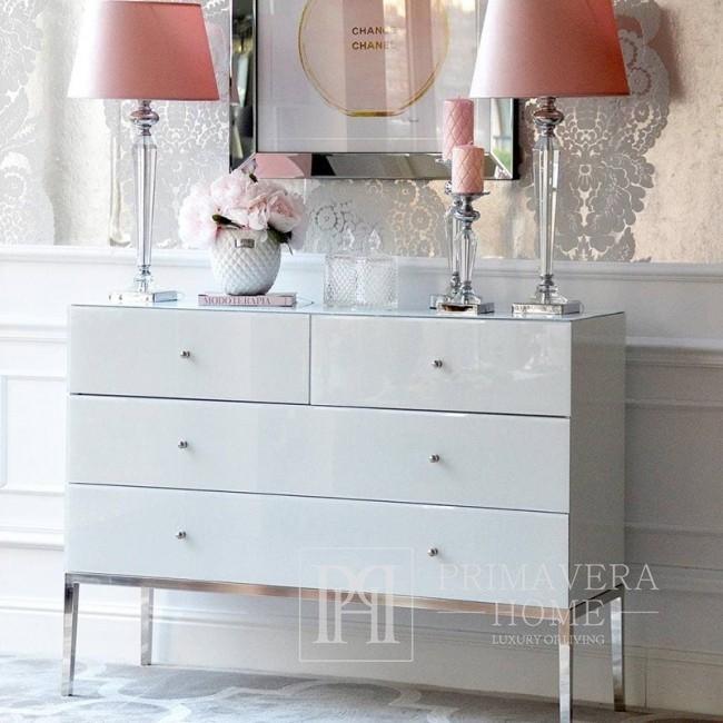 Komoda glamour FRANCO szklana super white srebrna OUTLET