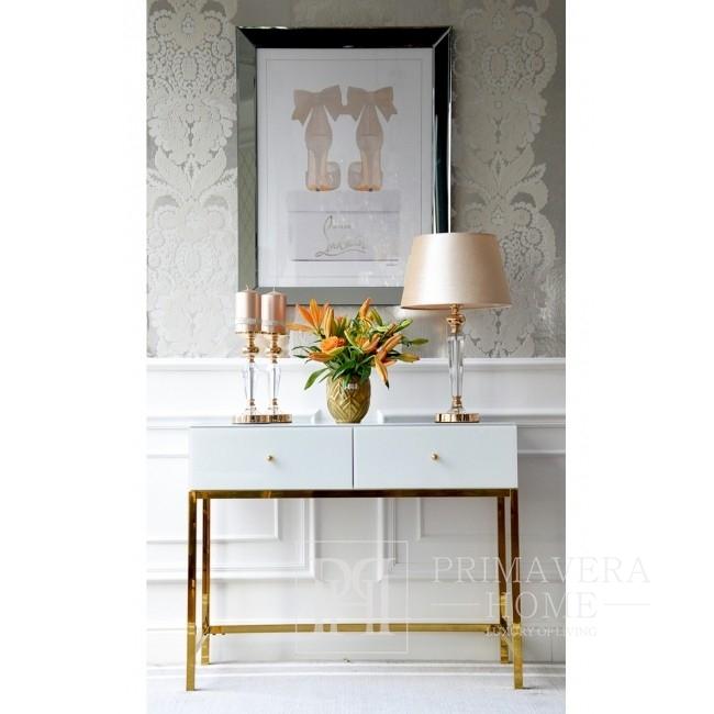 Glamour mirror dresser super white on Franco Gold steel legs