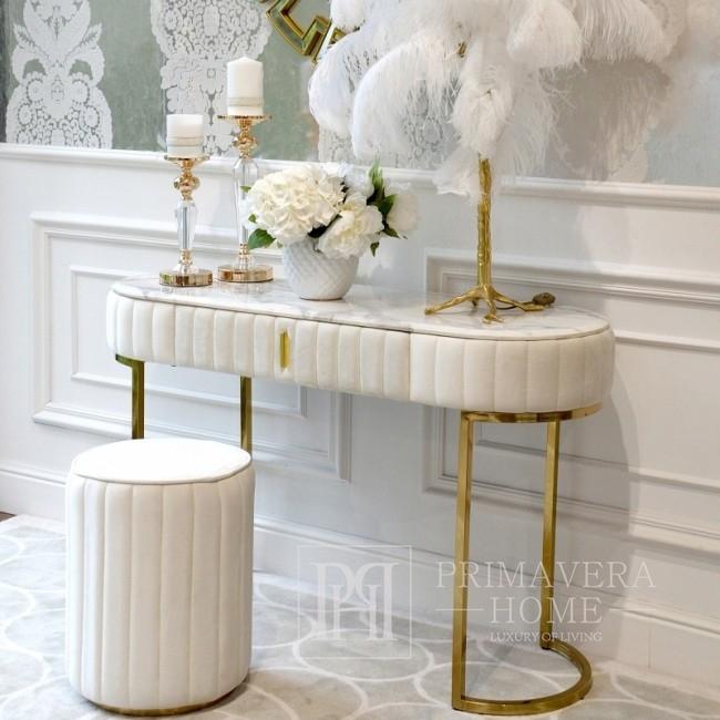 Konsola glamour srebrna modern classic biała do przedpokoju salonu z marmurowym blatem BELLA GOLD