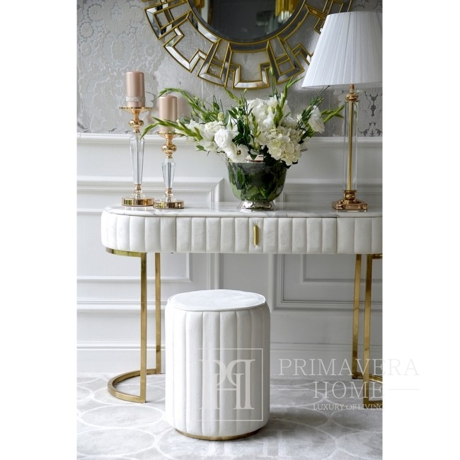Glamour silver console modern classic white for hallway, BELLA GOLD living room