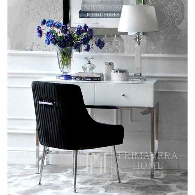 Krzesło tapicerowane glamour do jadalni salonu nowoczesne z kołatką srebrne czarne PALOMA