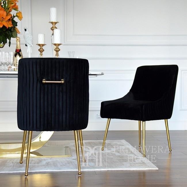 PALOMA Gold Esszimmerstuhl schwarz
