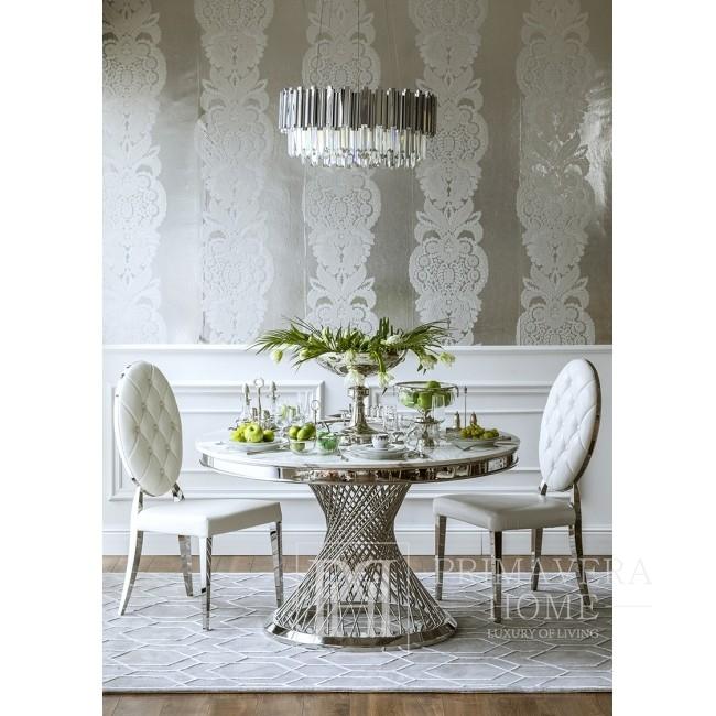 Krzesło glamour MEDALION do jadalni stal nierdzewna, białe 49x49x102,5 OUTLET