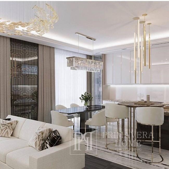 Lampa srebrna wisząca żyrandol galmour nowoczesny kryształowy podłużny prostokątny srebrny GLAMOUR 100 silver