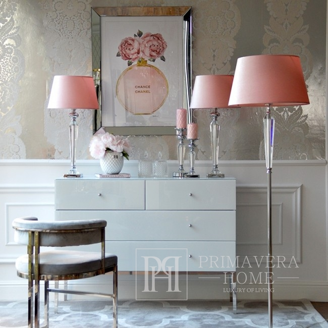Lampa stołowa srebrna nowoczesna w stylu glamour kryształowa biała TRINITY L