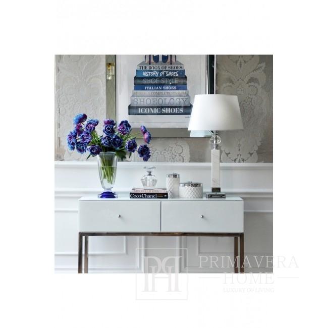 Lampa stołowa srebrna w stylu glamour z marmurem kula nowoczesna MARMO