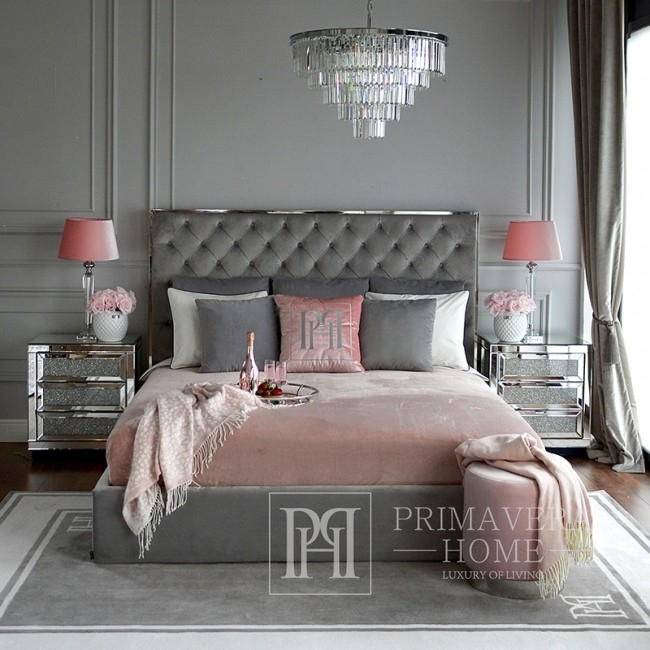 A glamor upholstered quilted bed modern New York style gray SPECTRE