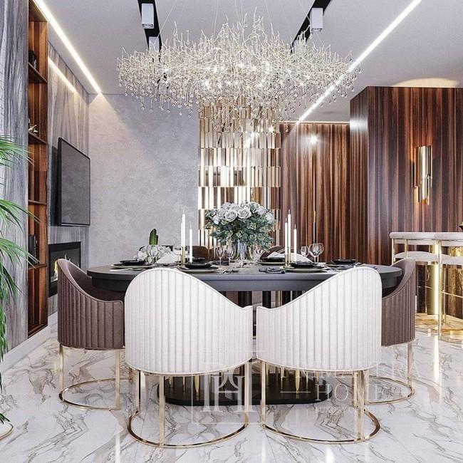 Żyrandol srebrny lampa wisząca, lampa sufitowa glamour nowoczesna RAIN M SILVER
