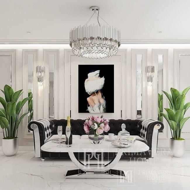 Nowoczesny stolik kawowy do salonu z białym marmurowym blatem srebrny ART DECO