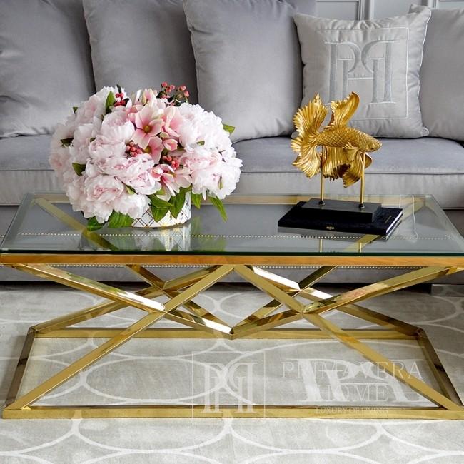 Stolik kawowy glamour nowoczesny nowojorski ze szklanym blatem stalowy złoty CONRAD