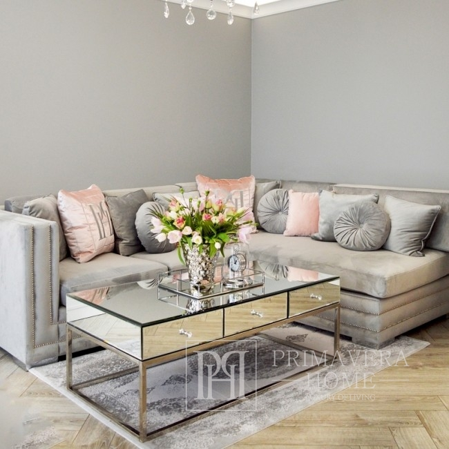 Glamour Mirror coffee table on metal legs New York CHICAGO
