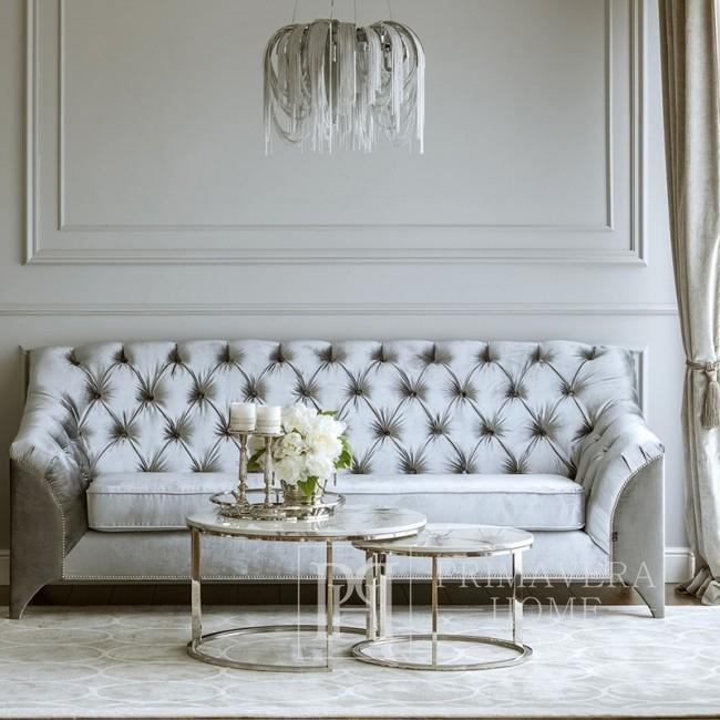Couchtisch modern Silber Glamour style mit weißer Steinplatte MARCO SILBER
