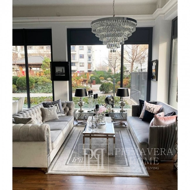 Żyrandol kryształowy MONACO L lampa wisząca glamour styl nowojorski,  do salonu 80cm srebrny