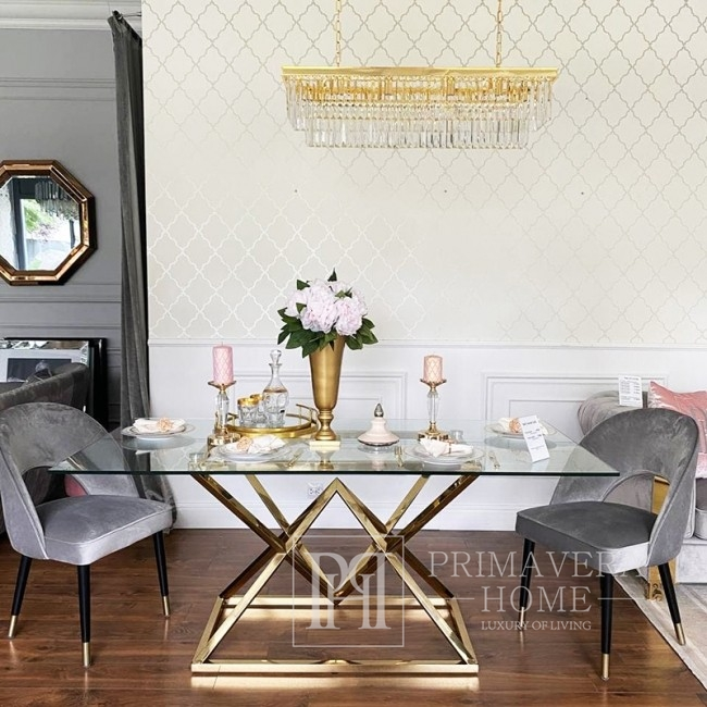 Longitudinal, rectangular crystal chandelier GLAMOUR 100 gold binding