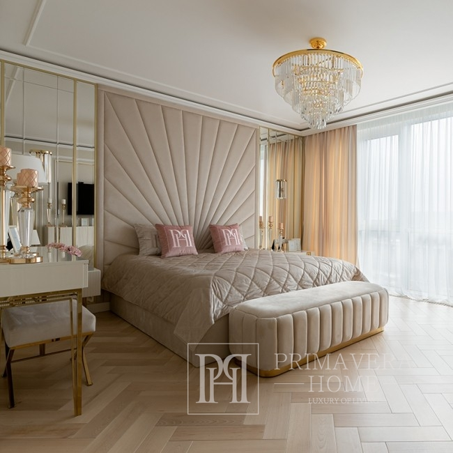 Żyrandol złoty lampa wisząca kryształowa glamour nowoczesny stalowy 80 cm GLAMOUR GOLD M
