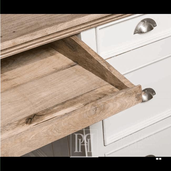 Antiker weißer Schreibtisch, Naturholz Bristol, Hampton-Stil