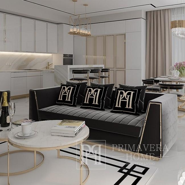 Czarna sofa pikowana velvet nowoczesna w stylu glamour do salonu złota MONTE CARLO
