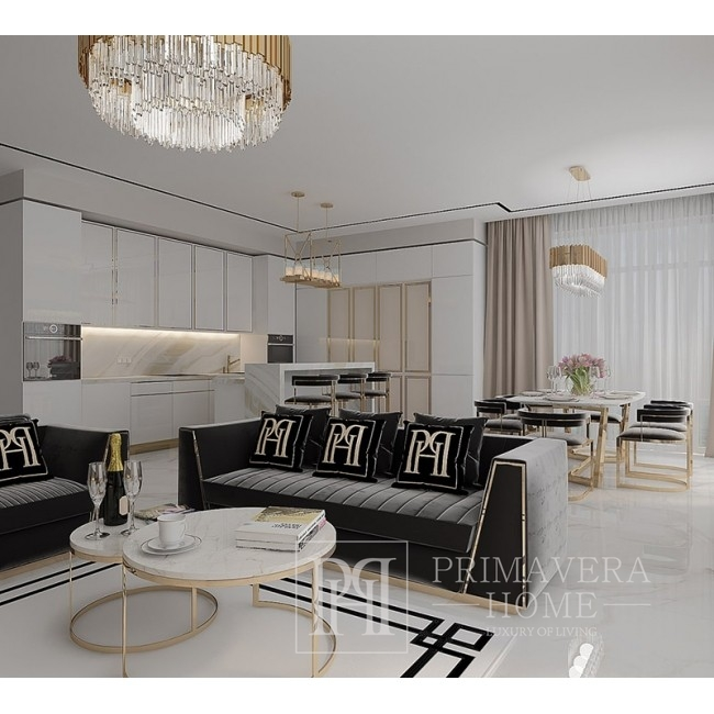 New York glamor upholstered armchair for the living room, modern black gold MONTE CARLO