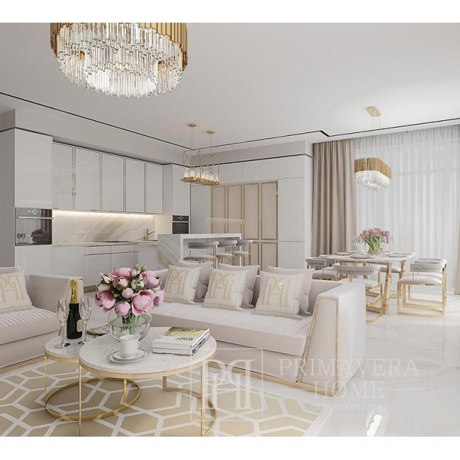 Fotel glamour nowojorski tapicerowany do salonu nowoczesny beżowy złoty MONTE CARLO