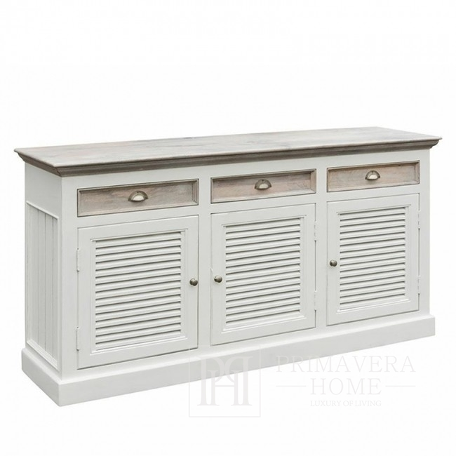 Antique white wooden chest of drawers, Provencal style, Hampton