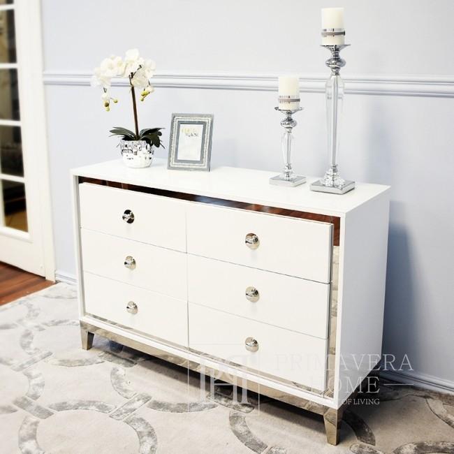 Komoda glamour lakierowana drewniana na stalowych nogach Lorenzo M Silver OUTLET