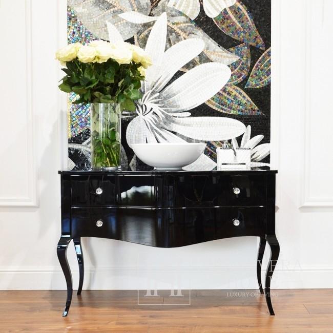 Badkommode aus Hochglanzholz Glamour schwarz weiß ELIZABETH