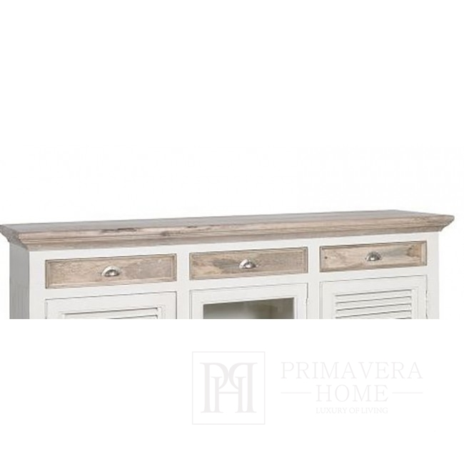 Hampton chest of drawers, antique white, wooden, Provencal style
