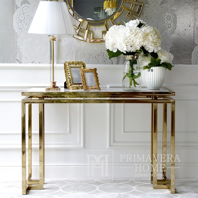Modern glamor console stainless steel gold with white marble top OSKAR GOLD
