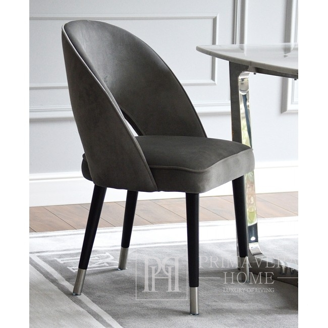 Modern chair upholstered in grey CARDINALE