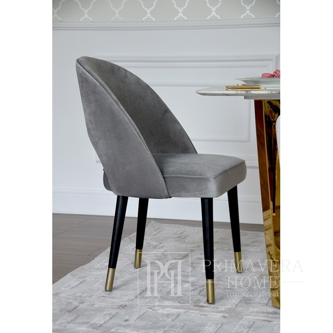 Krzesło glamour tapicerowane stal do jadalni szary welur złote CARDINALE GOLD
