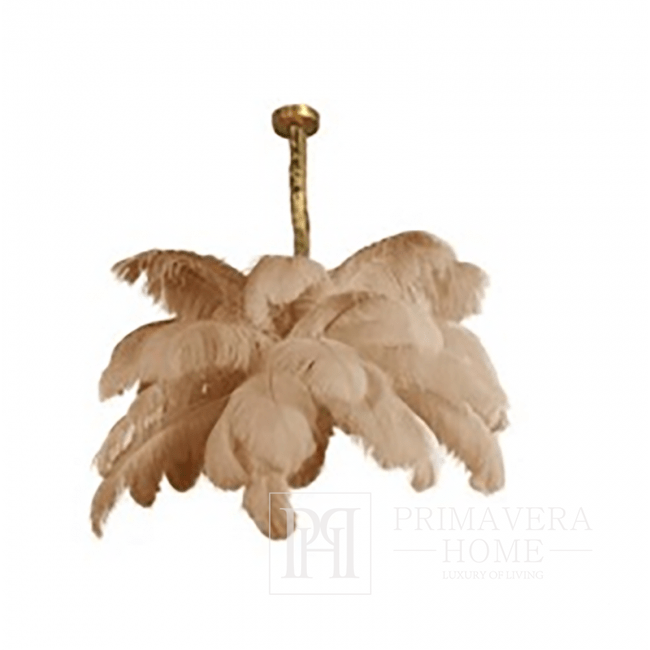 Pendant lamp gold with natural ostrich feathers beige Paris