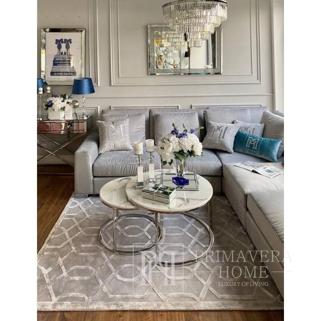 Nowoczesny dywan szary z geometrycznym wzorem HAMPTON