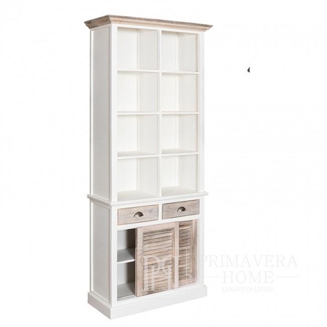 Regał biały drewniany w stylu prowansalskim, hamptons, shabby chic z przesuwnymi drzwiczkami