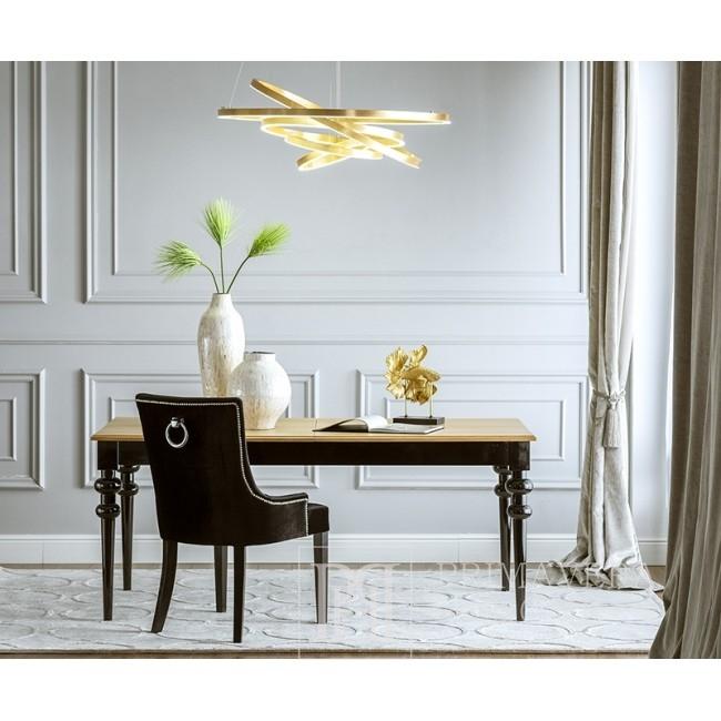 Stół drewniany glamour do jadalni salonu elegancki z połyskiem MILANO