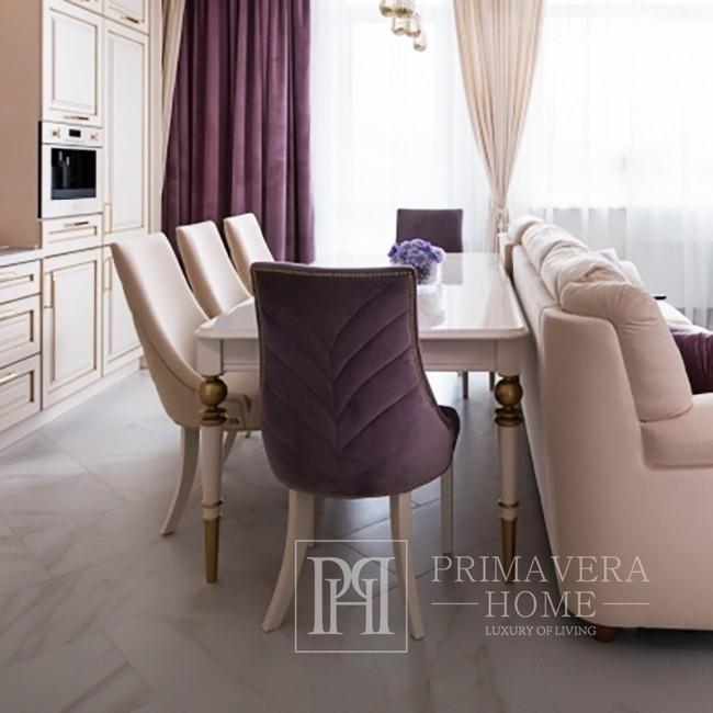 Stół z wysokim połyskiem glamour elegancki biały wysoki połysk  jasny złoty QUEEN