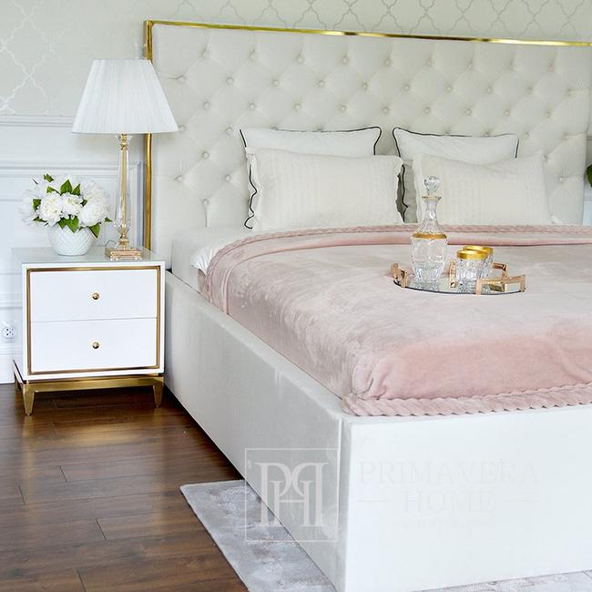 Szafka nocna lakierowana wysoki połysk biało złota do sypialni glamour Lorenzo S Gold OUTLET