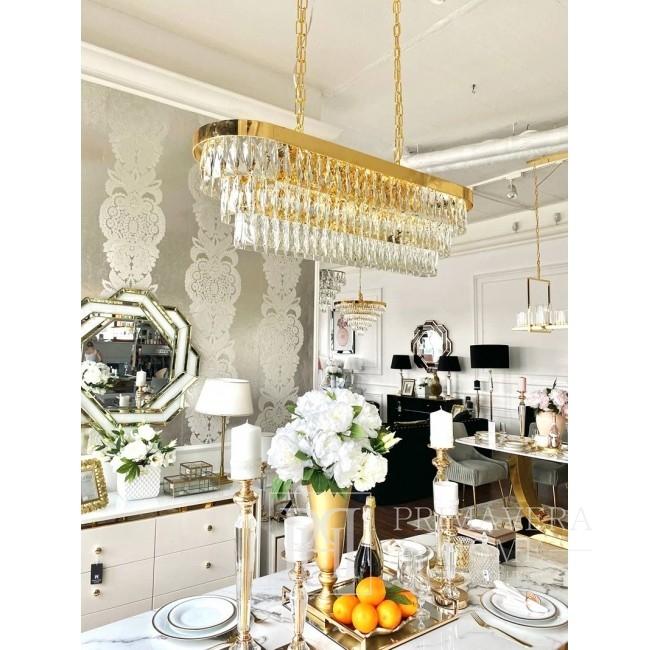 Żyrandol złoty lampa wisząca kryształowa glamour stalowy nowoczesny MONACO XL