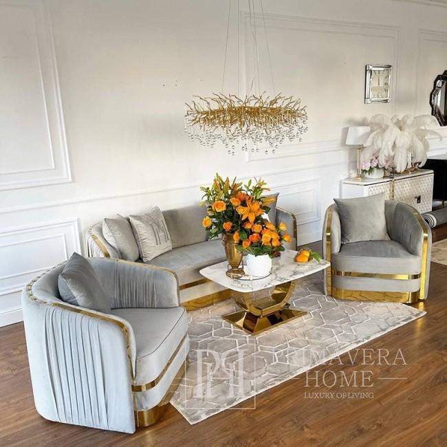 MADONNA elegant and modern grey gold glamour New York-style upholstered sofa for living room