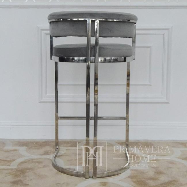 Hocker glamour MARCO modern gepolstert für Esszimmer, Bar, Kücheninsel 53x51x92 silber grau