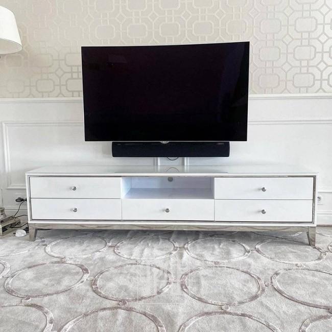Komoda RTV glamour wysoki połysk biało srebrna Lorenzo L Silver