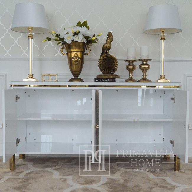 Luksusowa nowowczesna komoda ombré glamour do salonu z wysokim połyskiem biała złota GATSBY OUTLET
